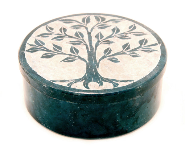 Round Soapstone Tree Of Life Jewellery Box Hand Carved - Teal