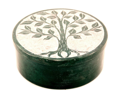 Round Soapstone Tree Of Life Jewellery Box Hand Carved - Green