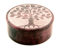 Round Soapstone Tree Of Life Jewellery Box Hand Carved - Red