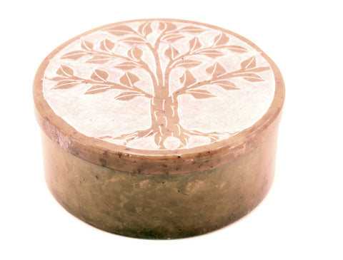 Round Soapstone Tree Of Life Jewellery Box Hand Carved - Yellow