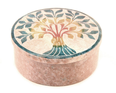 Round Soapstone Tree Of Life Jewellery Box Hand Carved - Multicolour