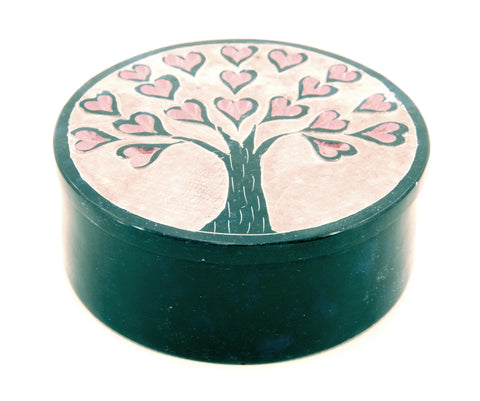 Round Soapstone Tree Of Life Jewellery Box Hand Carved - Heart Design