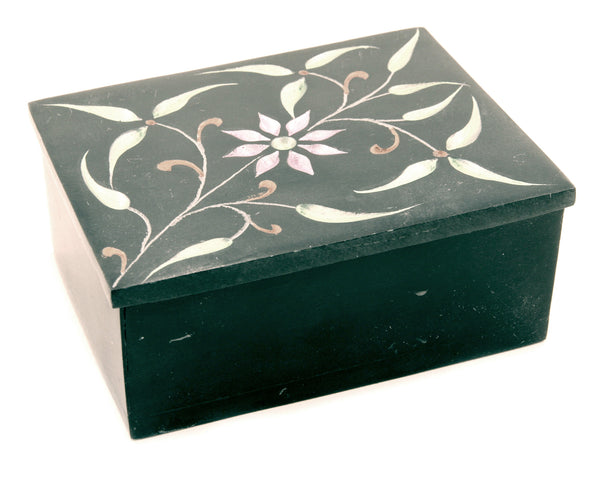 Square Soapstone Jewellery Box Hand Carved Black Painted Floral Design - 10cm