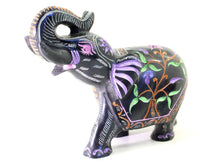 Elephant with Trunk Up Soapstone Black with Coloured Flower Design Hand Carved - 12.5cm