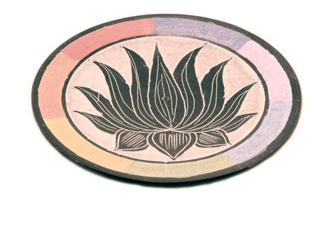 Hand Carved Circle Rainbow Chakra Incense Holder 'Lotus' Design - 10cm