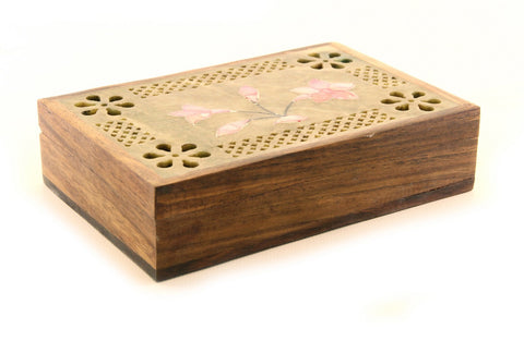 Rectangular Shaped Hand Carved Wooden Jewellery Box with Painted Carved Soapstone Lid with Flower Design - 15x10cm