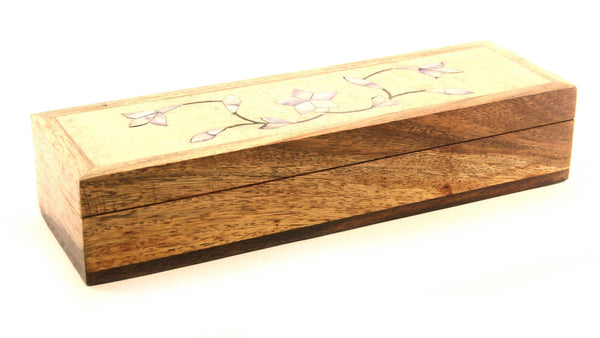 Long Rectangle Shaped Hand Carved Wooden Jewellery Box with Painted Soapstone Lid with Flower Design - 20x6cm