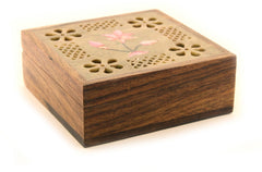 Square Shaped Hand Carved Wooden Jewellery Box with Painted Carved Soapstone Lid with Flower Design - 10x10cm