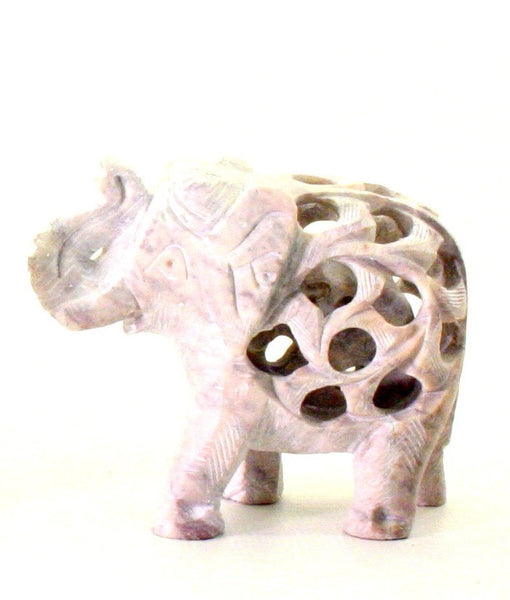 Elephant with Undercut Baby Elephant Design Figurine Hand Carved Soapstone Natural - 10cm