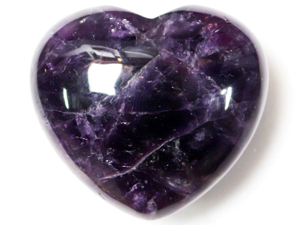 Amethyst Crystal Heart Cut and Polished Mineral - 30mm