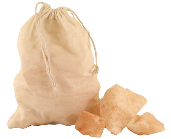 Himalayan Natural Crystal Salt Pink Bath Salt Chunks - 1kg Cotton Bag