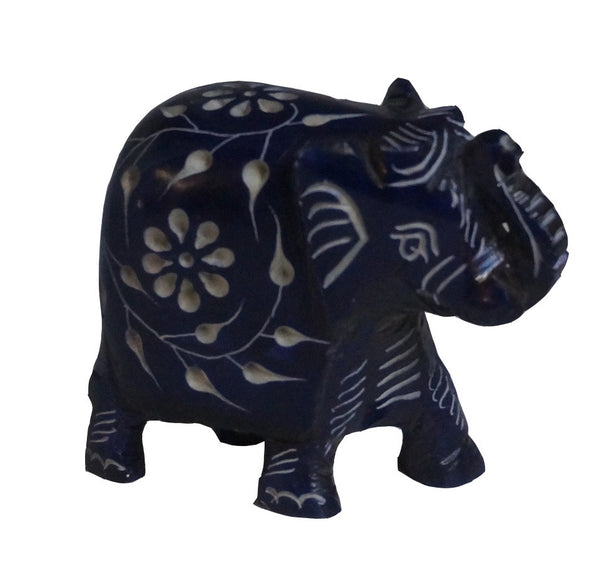 Elephant with Flower Design Figurine Hand Carved Soapstone Blue - 7.5cm
