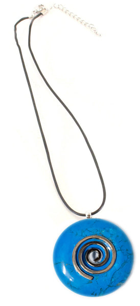 Blue Howlite Crystal Necklace Donut Shape Pendant Shaped and Polished