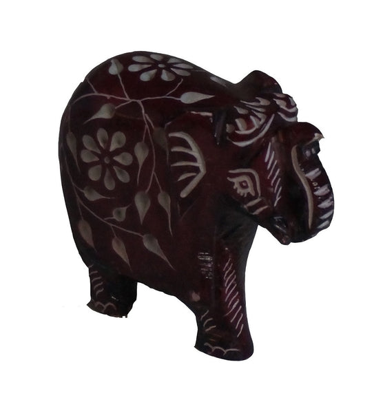 Elephant with Flower Design Figurine Hand Carved Soapstone Brown - 6.25cm