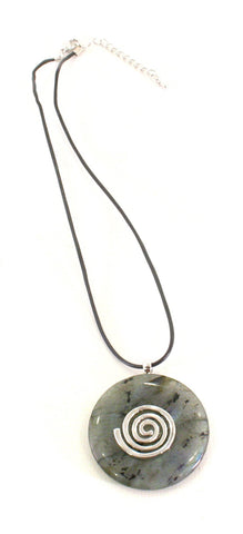 Labradorite Crystal Necklace Donut Shape Pendant Shaped and Polished