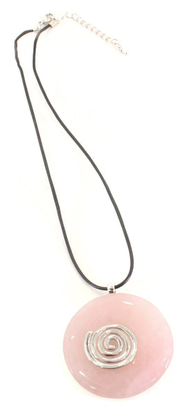 Rose Quartz Crystal Necklace Donut Shape Pendant Shaped and Polished