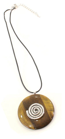Tiger Eye Crystal Necklace Donut Shape Pendant Shaped and Polished