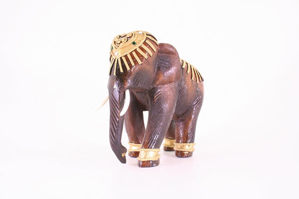 Elephant With Trunk Down Decorated With Gold and Jewels Wooden Statue Hand Carved 18cm