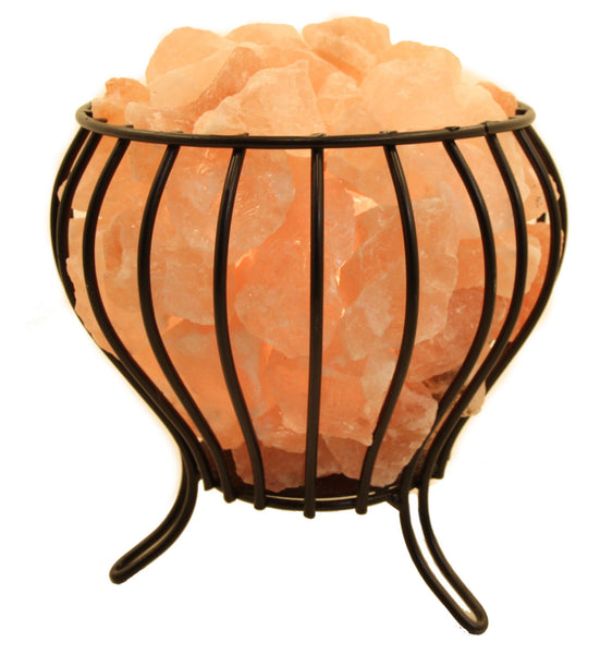 Bud Shape Fire Bowl Cage With Loose Salt Chunks Himalayan Salt Lamp with Base and Electrical Kit