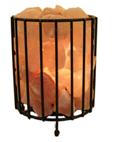 Cylinder Shape Fire Bowl Cage With Loose Salt Chunks Himalayan Salt Lamp with Base and Electrical Kit