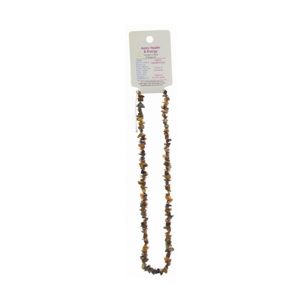 Tiger Eye Crystal Chip Elastic Horoscope Necklace - Star Sign Gemini