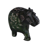 Elephant with Flower Design Figurine Hand Carved Soapstone Green - 6.25cm