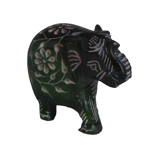 Elephant with Flower Design Figurine Hand Carved Soapstone Green - 5cm
