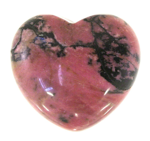 Rhodonite Crystal Heart Cut and Polished Mineral - 30mm