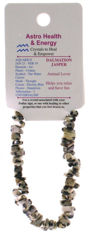 Dalmation Jasper Crystal Chip Elastic Horoscope Bracelet - Star Sign Aquarius