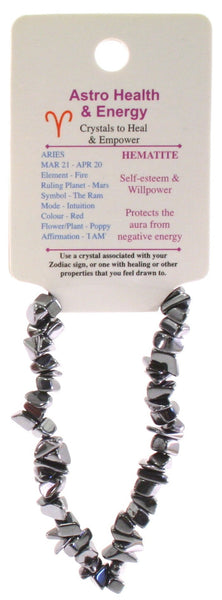 Hematite Crystal Chip Elastic Horoscope Bracelet - Star Sign Aries