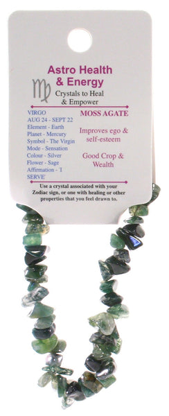 Moss Agate Crystal Chip Elastic Horoscope Bracelet - Star Sign Virgo