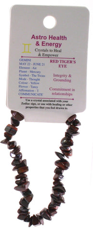Red Tiger Eye Crystal Chip Elastic Horoscope Bracelet - Star Sign Gemini