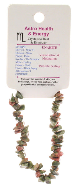 Unakite Crystal Chip Elastic Horoscope Bracelet - Star Sign Scorpio