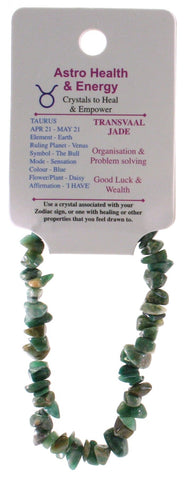 Transvaal Jade Crystal Chip Elastic Horoscope Bracelet - Star Sign Taurus