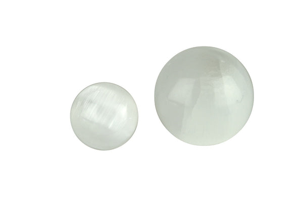 White Selenite Crystal Sphere Cut and Polished Mineral - 40mm Diameter