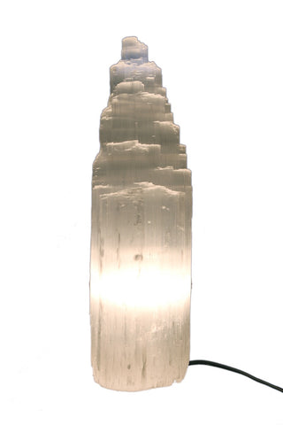 White Selenite Crystal Mountain Shape Lamp With Electrical Kit - 30 to 35cm