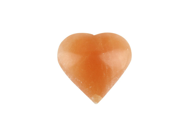 Orange Selenite Crystal Heart Carved Polished Mineral - 6 to 10cm