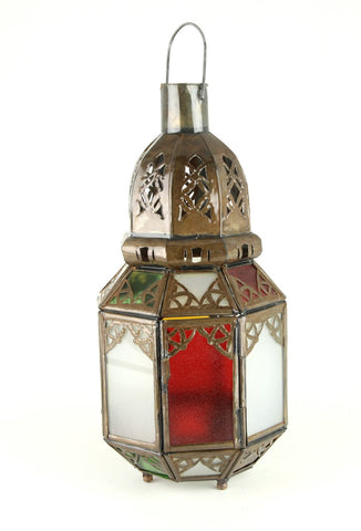Metal Lantern with Coloured Glass and Hanging Loop From Morocco - 23cm