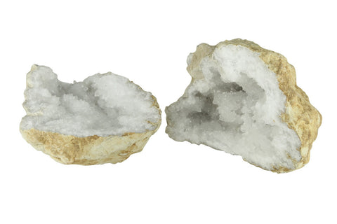 Quartz and Calcite Crystal Geode Pair Natural Mineral From Morocco - 10 to 15cm