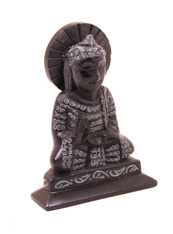 Buddha Sculpture Hand Carved Soapstone With Flat Base Black - 7.5cm