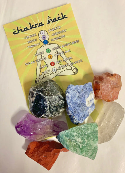 Chakra Pack of Seven Types of Rough Natural Crystal With Chakra Information