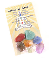 Chakra Pack of Seven Types of Tumbled Natural Crystal With Chakra Information