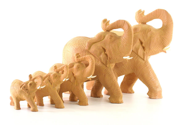 Elephant With Trunk Raised Light Skin Textures Colour Natural Wood Figurine - 7cm