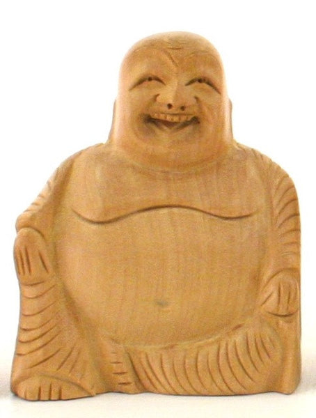 Sitting Laughing Buddha Wood Carving Figurine - 6cm