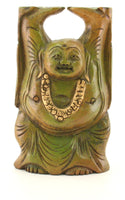 Standing Buddha Wood Carving Figurine Green Gold Trim BUY ONE GET ONE FREE - 10cm