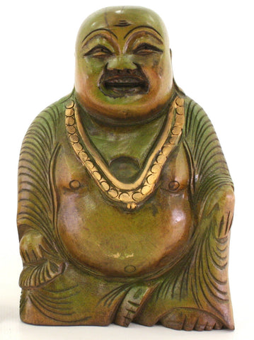 Sitting Laughing Buddha Wood Carving Figurine Green Gold Trim - 15cm