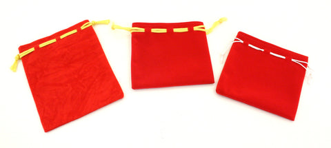Suede Gift Bag Pouch Coloured String - Red
