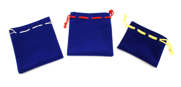 Suede Gift Bag Pouch Coloured String - Blue