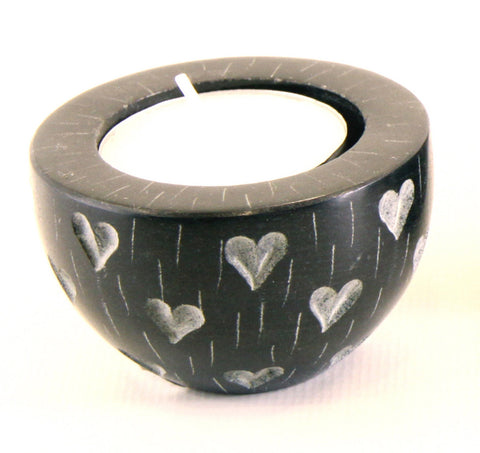 Round Cup Shaped Tea Light Soapstone Candle Holder Black With Etched Heart Design Hand Carved- 6cm