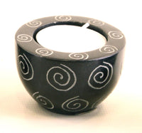 Round Cup Shaped Tea Light Soapstone Candle Holder Black With Etched Spiral Design Hand Carved- 6cm